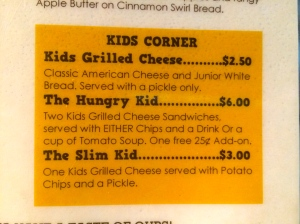 Grilled Cheese Kid Menu